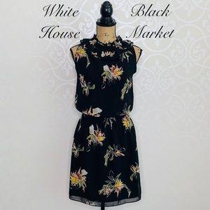 WHITE HOUSE BLACK MARKET FLORAL SIZE 8 DRESS
